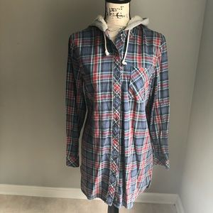 Flannel Plaid Button Up Tunic Sherpa Hood AB20